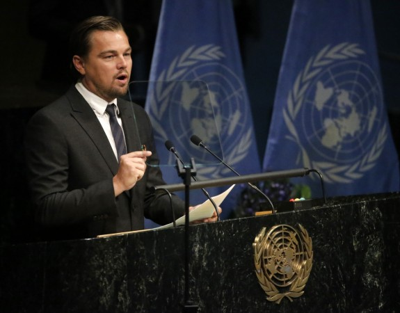 Leonardo DiCaprio delivers his remarks during the Paris Agreement on climate change held at the United Nations Headquarters on Apr. 22, 2016.