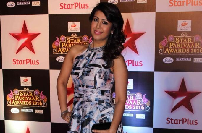 "Karan Patel's wife Ankita Bhargava shoots for her show ""Vidya."" Pictured: Ankita Karan Patel at Star Parivaar Awards 2016"
