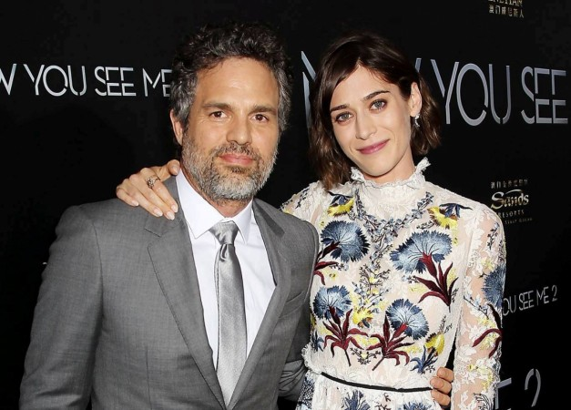 Lizzy Caplan with co-star Mark Ruffalo