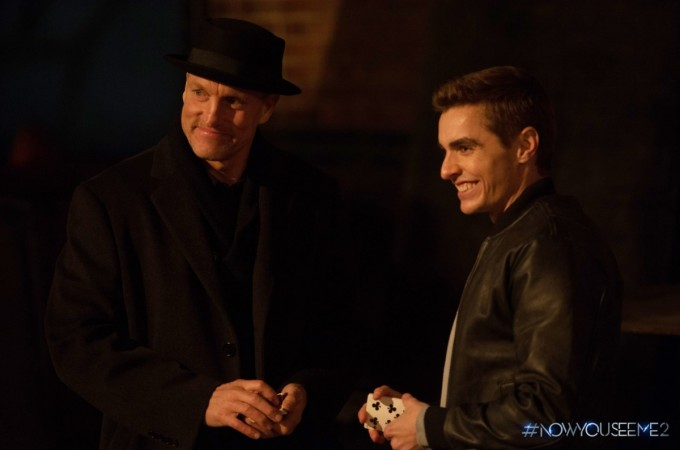 "Dave Franco with Woody Harrelson in ""Now You See Me 2"""