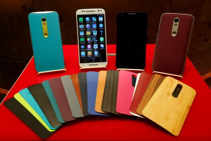 Motorola Moto series smartphones are displayed