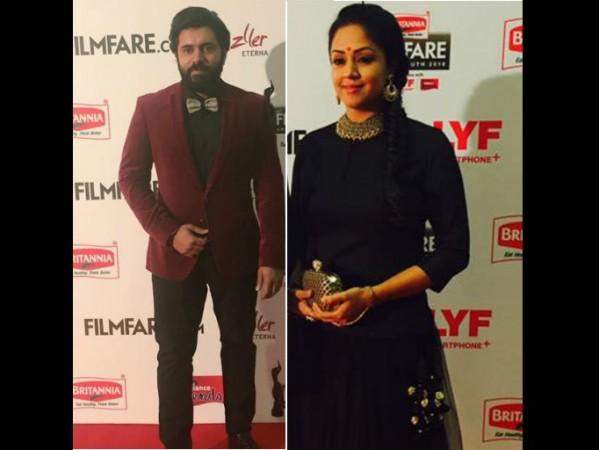 Nivin Pauly and Jyothika at Filmfare South Awards