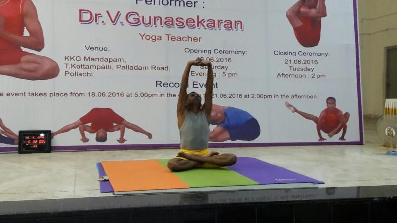 V Gunasekaran attempts to make the Longest Yoga Marathon (Male) record in Tamil Nadu.