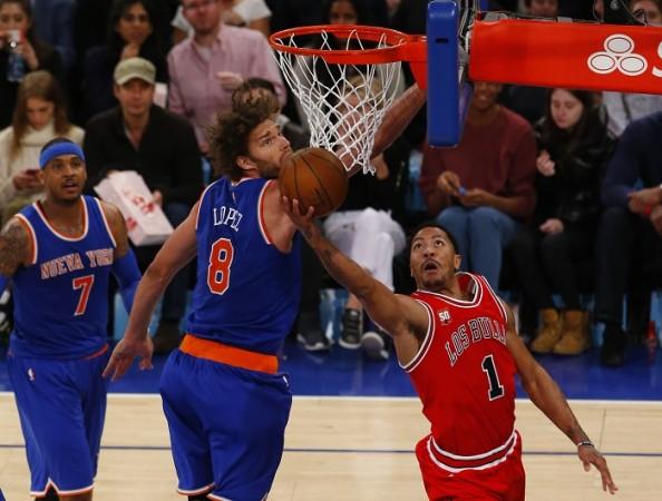Derrick Rose Robin Lopez Chicago Bulls New York Knicks