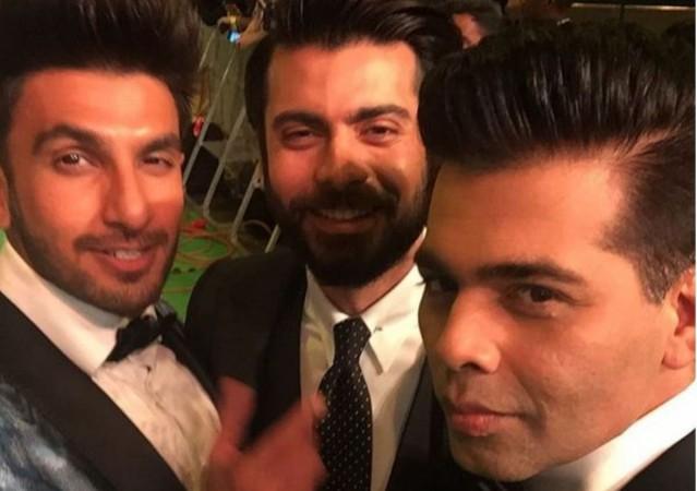 Ranveer Singh, Fawad Khan and Karan Johar at IIFA Awards 2016