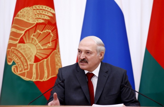 Belarussian President Alexander Lukashenko makes a statement after a session of the Supreme State Council of Russia-Belarus Union State in Minsk, Belarus, Feb. 25, 2016.