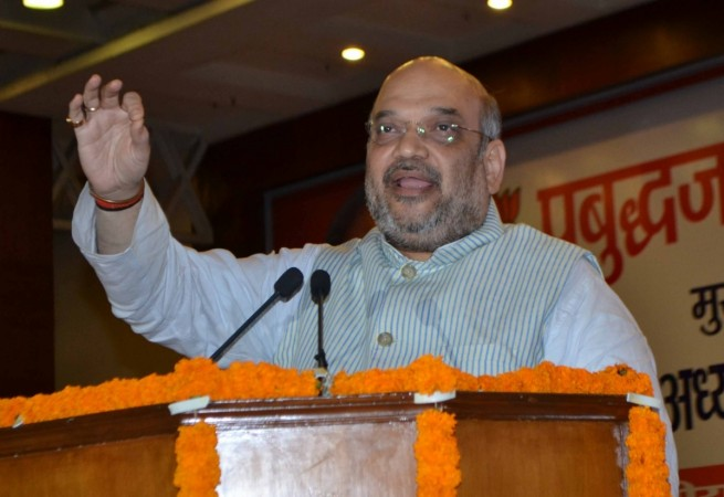 "BJP president Amit Shah addresses at ""Prabudhajan Sammelan"" in Noida, Uttar Pradesh on June 30, 2016"