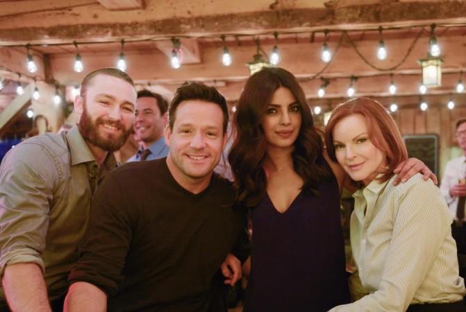 "Priyanka Chopra with ""Quantico"" co-stars Jake McLaughlin, Josh Hopkins and Marcia Cross"