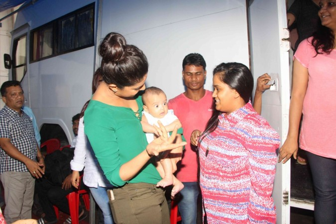 Priyanka Chopra with Arpita Khan Sharma's son Ahil at Mehboob Studios