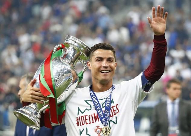 Cristiano Ronaldo Portugal Euro 2016 trophy