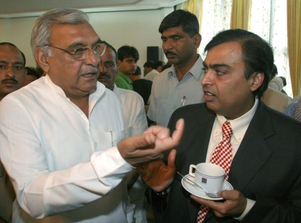 Bhupinder Singh Hooda talking to Ambani