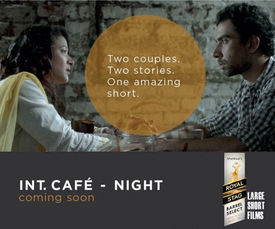 "Naveen Kasturia and Shweta Basu Prasad in ""Int. Café – Night."""