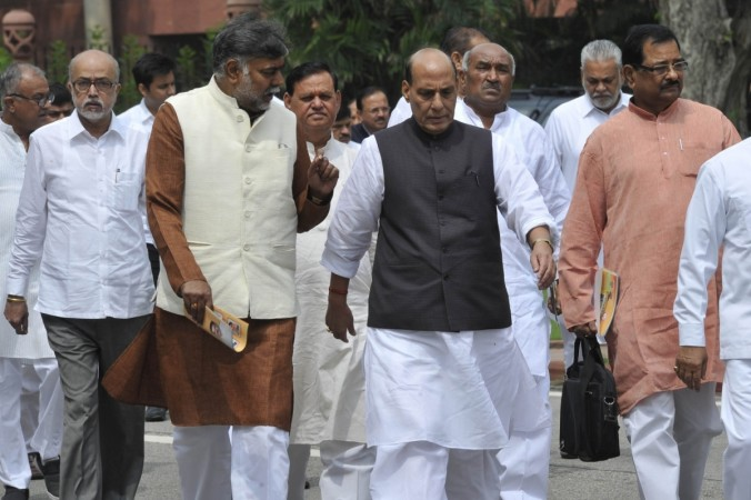 Union Home Minister Rajnath Singh comes out after BJP parliamentary party meeting at Parliament in New Delhi, on Aug. 2, 2016