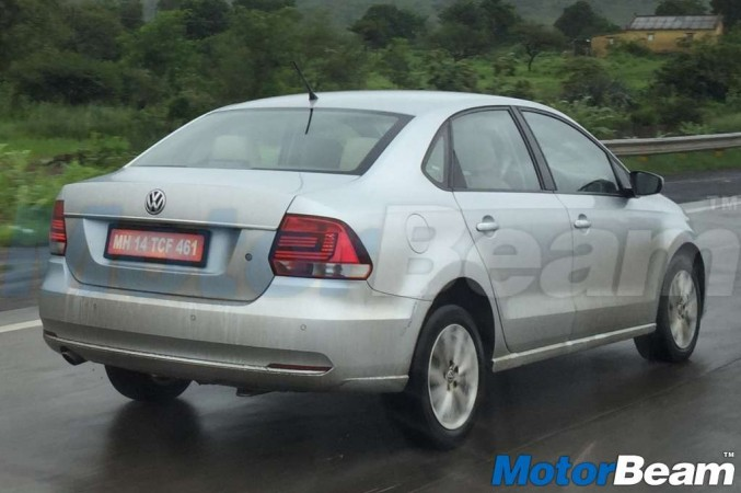 A prototype of the Vento was spied undergoing testing, showing LED headlights.