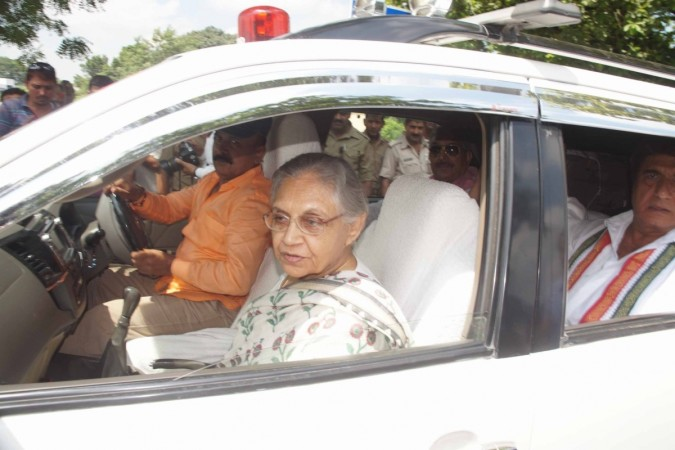 Congress Uttar Pradesh chief ministerial candidate Sheila Dikshit during a roadshow in Varanasi on Aug 2, 2016