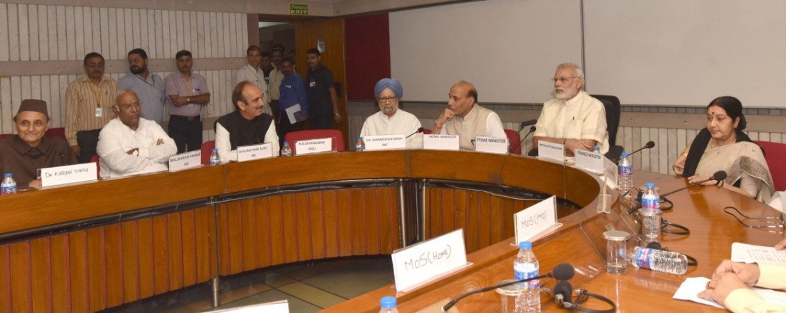 Prime Minister Narendra Modi chairs the all-party meeting on Kashmir in New Delhi on Aug. 12, 2016.