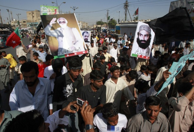 Supporters of Baluchistan National Party (BNP) protest during a rally in Karachi April 12, 2009. The protesters demonstrated against what they said was the killing of political activists in Balochistan.