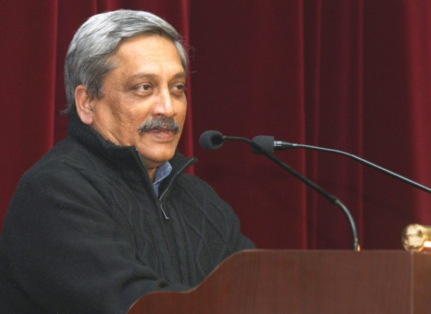 Union Minister for Defence Manohar Parrikar addresses NCC cadets at the DG NCC Republic Day Camp – 2015, in New Delhi on Jan. 21, 2015.