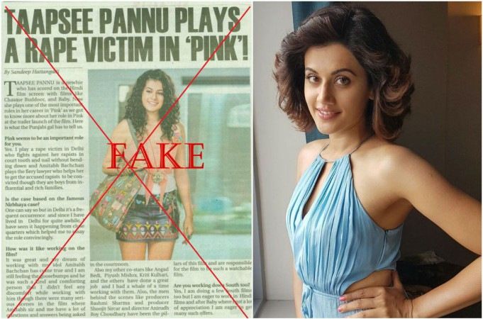 Taapsee Pannu reacts to fake news
