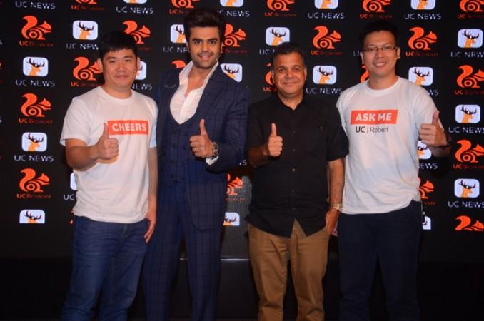 Jack Huang, President, Overseas Business, Alibaba Mobile Business Group ; Manish Paul Tv Personality , Raj Nayak CEO Colors Tv ; Robert Bu, General Manager, UCWeb India