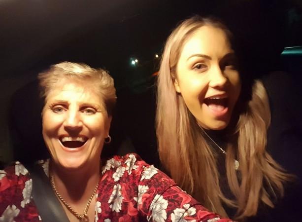 Grandma Uber with a happy customer