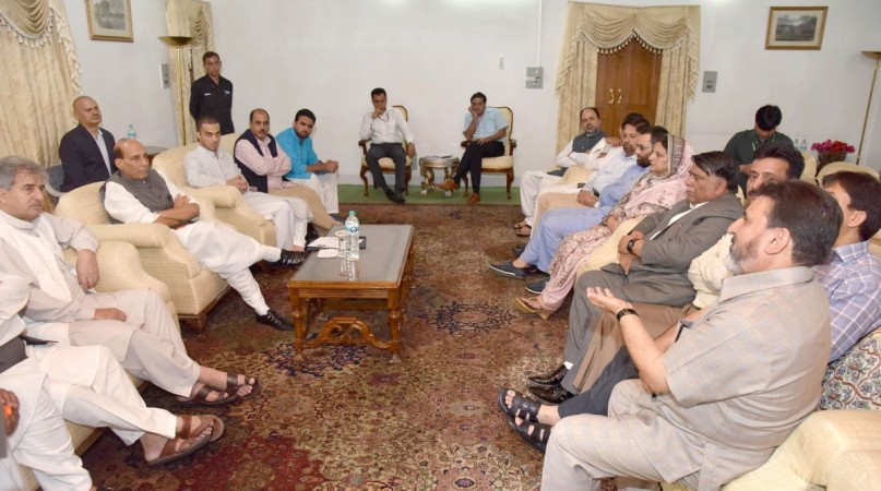 A delegation of J&K Peoples Democratic Party led by General Secretary Mohd Sartaj Madni meets Union Home Minister Rajnath Singh in Srinagar on Aug. 24, 2016.