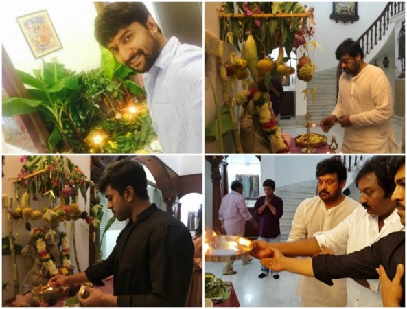 Nani, Chiranjeevi, Ram Charan and VV Vinayak worship Ganesh