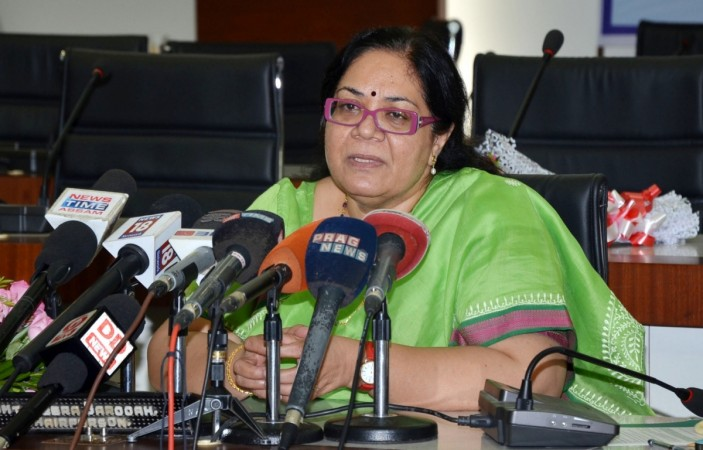 National Commission for Women (NCW) Chairperson Lalitha Kumaramangalam addresses a press conference in Guwahati on June 27, 2016.