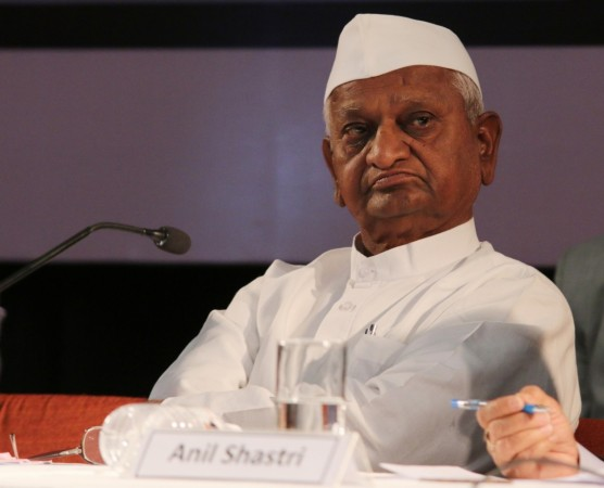 "Social activist Anna Hazare at the launch of the book - ""Lal Bahadur Shastri - Netritva Ke Sutra"" in New Delhi, on Feb. 17, 2016"