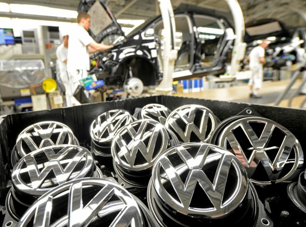 Volkswagen to begin diesel car recall in India from September. Pictured: Emblems of VW Golf VII car are pictured in a production line at the plant of German carmaker Volkswagen in Wolfsburg