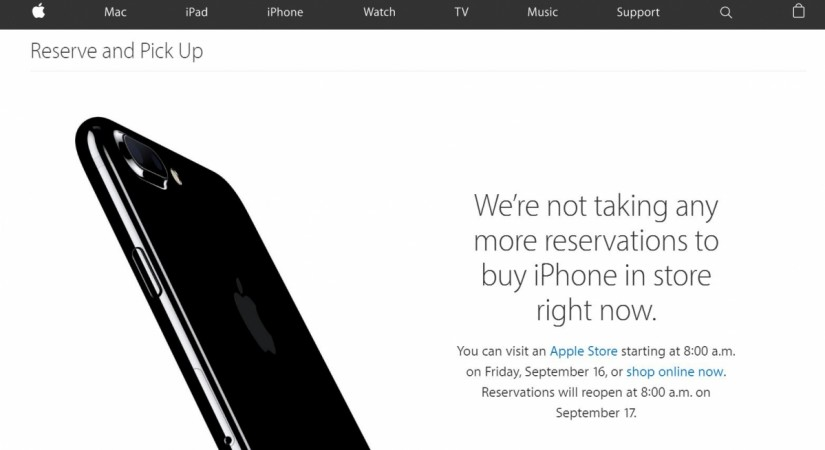 Apple iPhone 7, 7 Plus reservation and pickup service suspended in select markets ahead of release