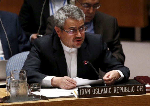 Iran's United Nations (U.N.) Ambassador Gholamali Khoshroo speaks at a United Nations Security Council meeting at the U.N. headquarters in New York, July 20, 2015.