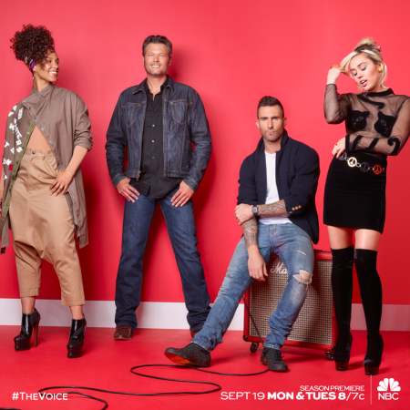 The Voice US Season 11 coaches Alicia Keys, Blake Shelton, Adam Levine and Miley Cyrus (left to right)