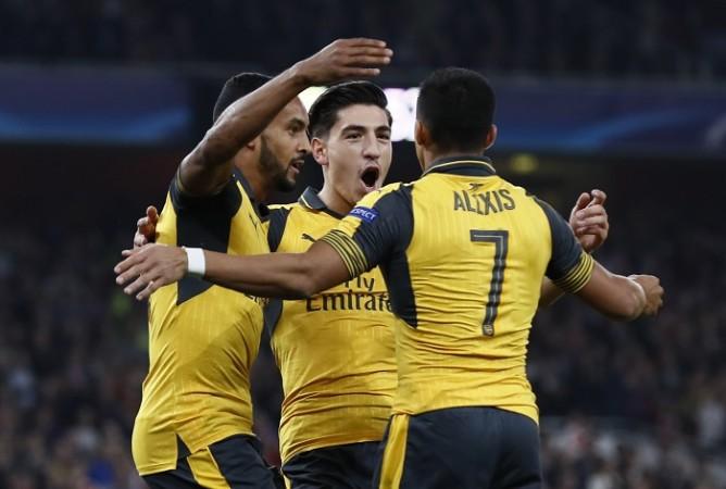 Theo Walcott Hector Bellerin Alexis Sanchez Arsenal