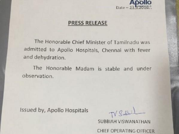 Appllo Hospitals on Jayalalithaa's health