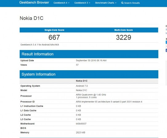 Android Nougat-powered Nokia D1C smartphone spotted on Geekbench; key specifications revealed