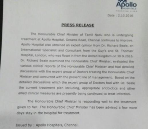 Jayalalithaa's health update by Apollo Hospitals