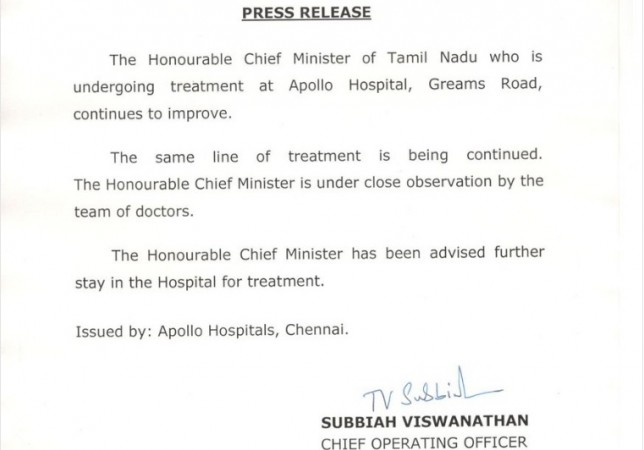 Apollo Hospitals' statement on Jayalalithaa's health