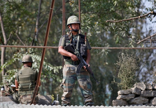 Indian army soldiers keep guard in Kashmir