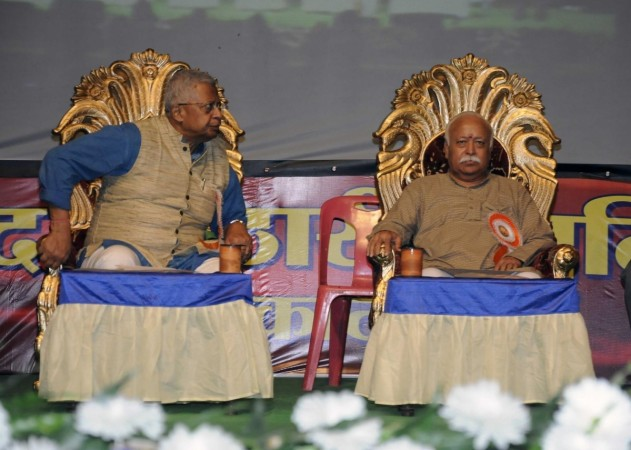 RSS chief Mohan Bhagawat with BJP leader Tathagata Roy