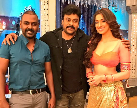 Raai Laxmi, Chiranjeevi, Raghava Lawrence on Khaidi No 150 set