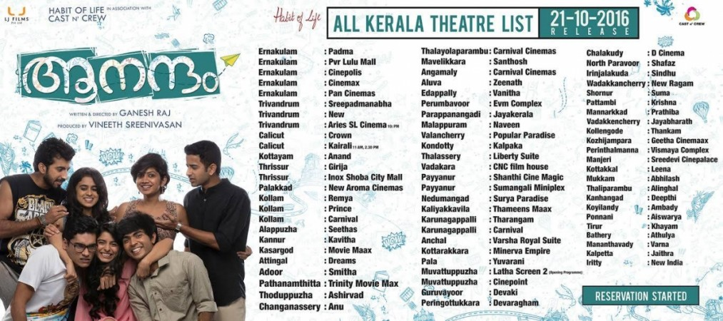 Aanandam to be released on October 21, check Kerala theatre list