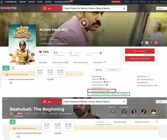 Baahubali - The Beginning and Action Hero Biju re-released in Kerala