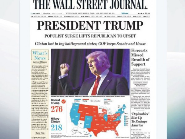Wall street journal reacts to trump victory