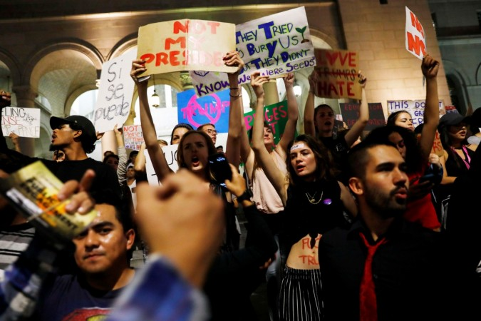 Anti-Trump protesters march for fifth straight night