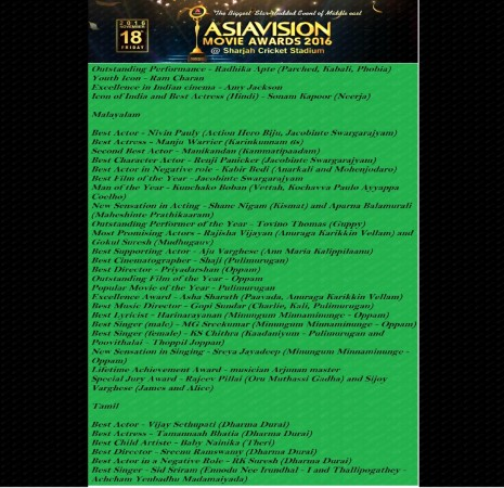 Asiavision Movie Awards 2016 winners