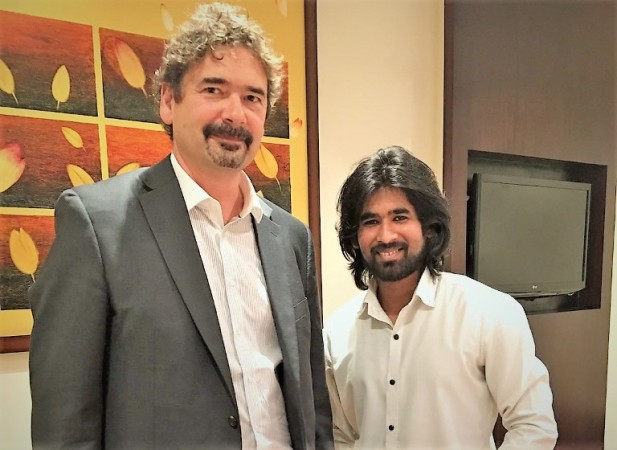 During an interaction with Jon von Tetzchner, founder of Vivaldi, (L) by IBTimes reporter Sami Khan
