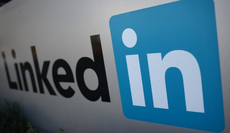 The logo for LinkedIn Corporation is pictured in Mountain View, California