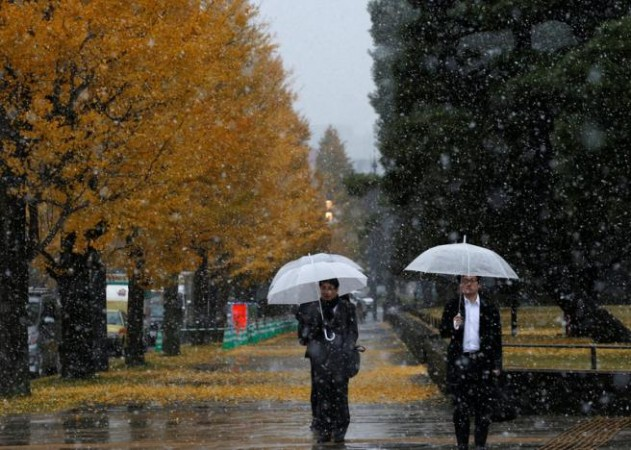 Japanese capital Tokyo sees first November snow in over half a century