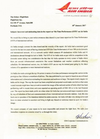 Air India letter, third worst airline